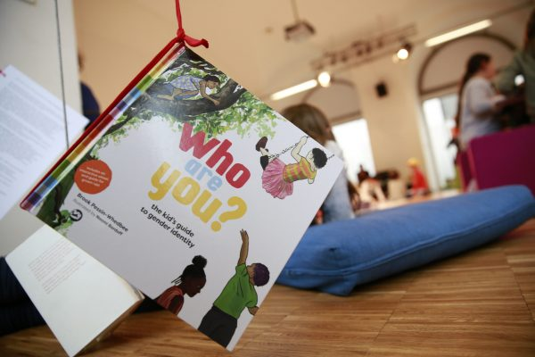 """""""Who are you?"""" inclusive book on gender identity, hanging at Library of Request"""